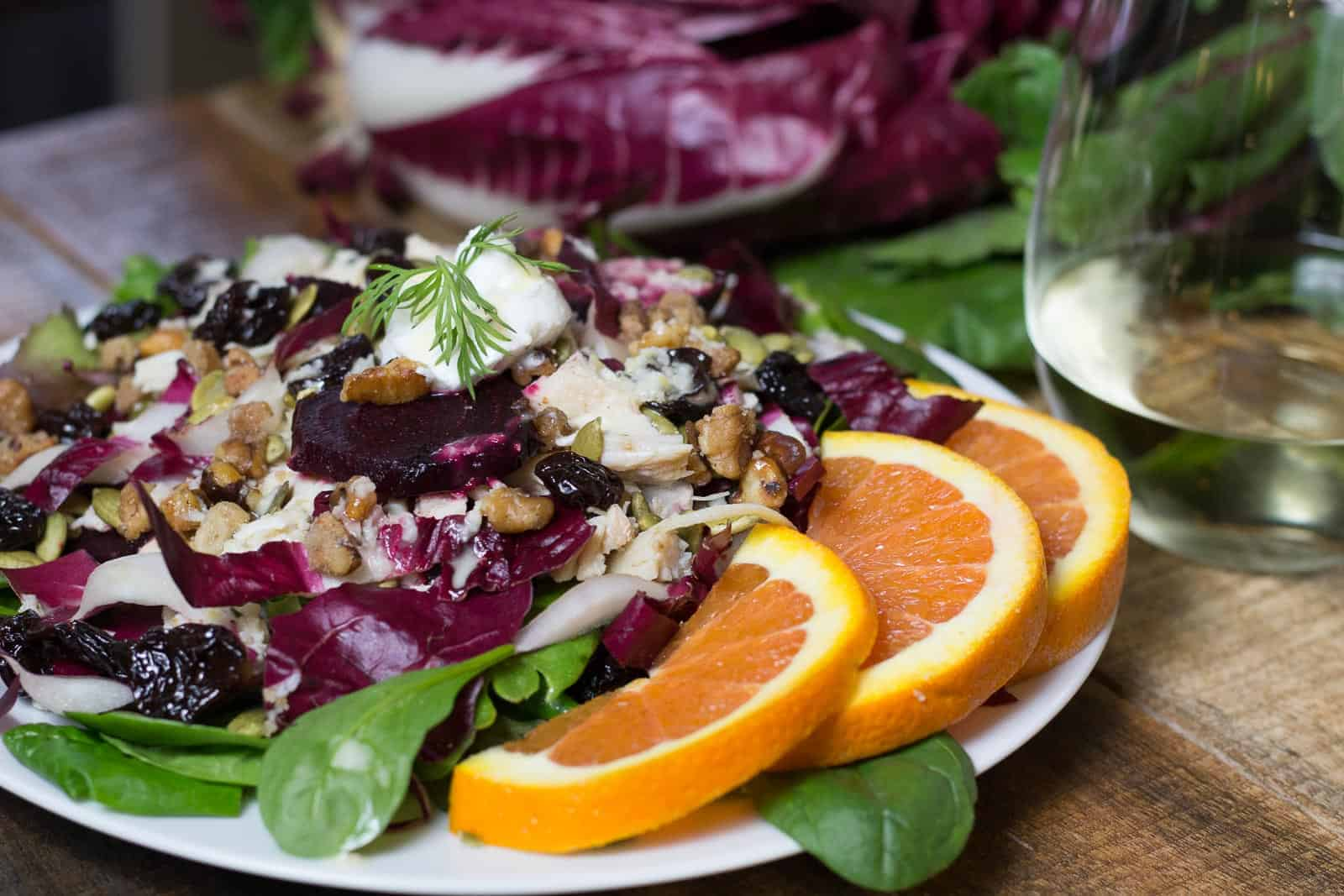 Chicken and roasted beet salad with oranges and wine