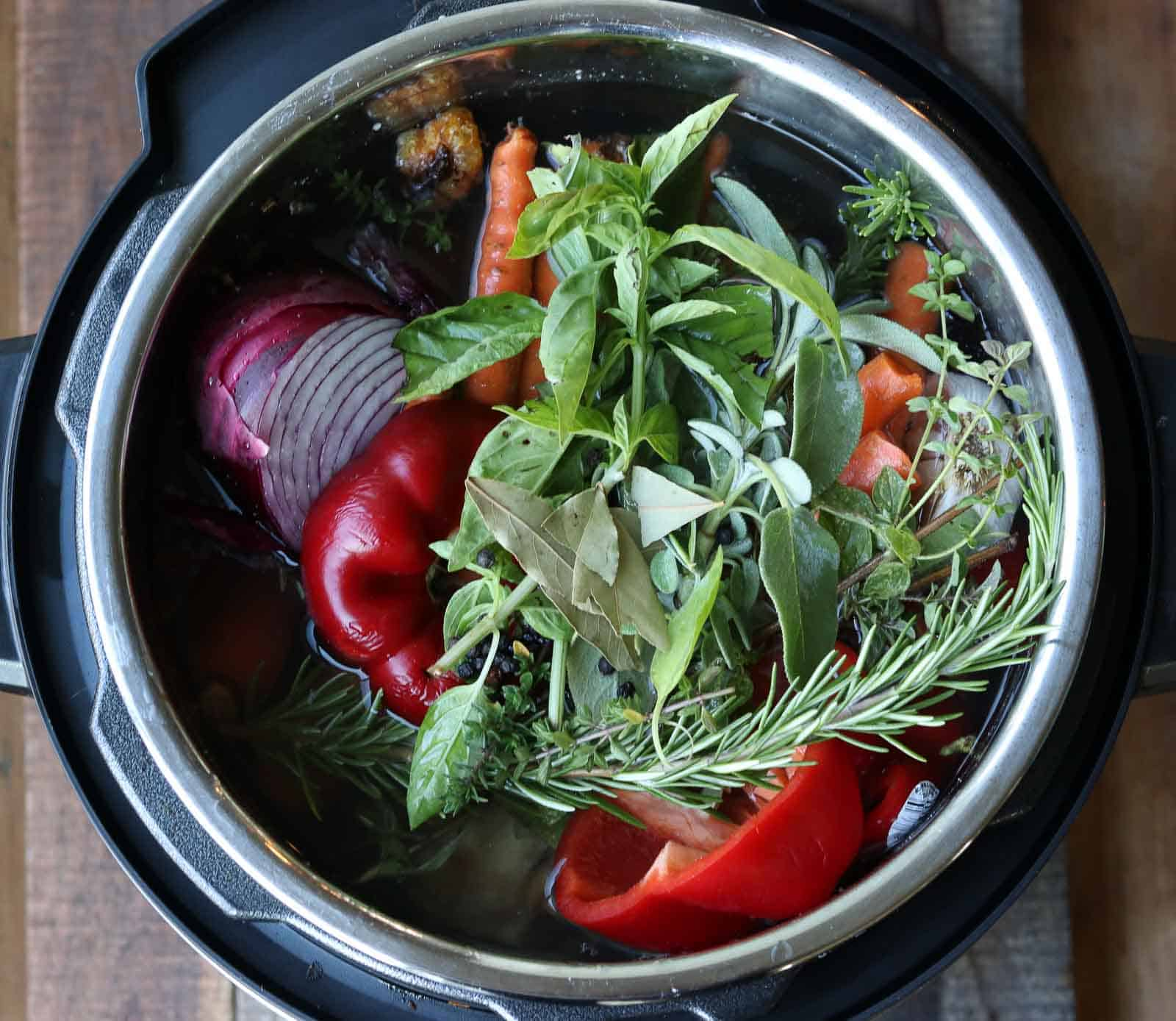 Healthy Instant Pot Beef Bone Broth in an Instant Pot with vegetables