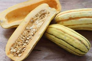 Delicata Squash from Gourmet Done Skinny cut in half