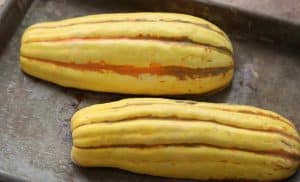 Delicata squash ready to be roasted