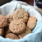 Cinnamon Oodles - Oatmeal Snickerdoodles in a basket with a blue cloth, oatmeal in background from Gourmet Done Skinny