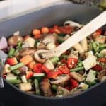 Roasted vegetables in a pan from Gourmet Done Skinny