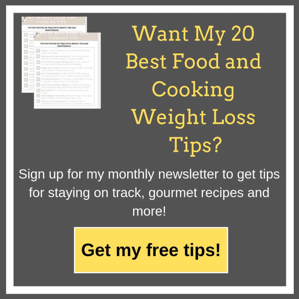 Want my 20 Best Food and Cooking tips sign from Gourmet Done Skinny on a grey background with beige border and yellow button