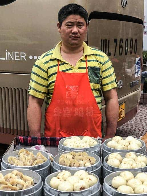 Man selling dumplings on the street