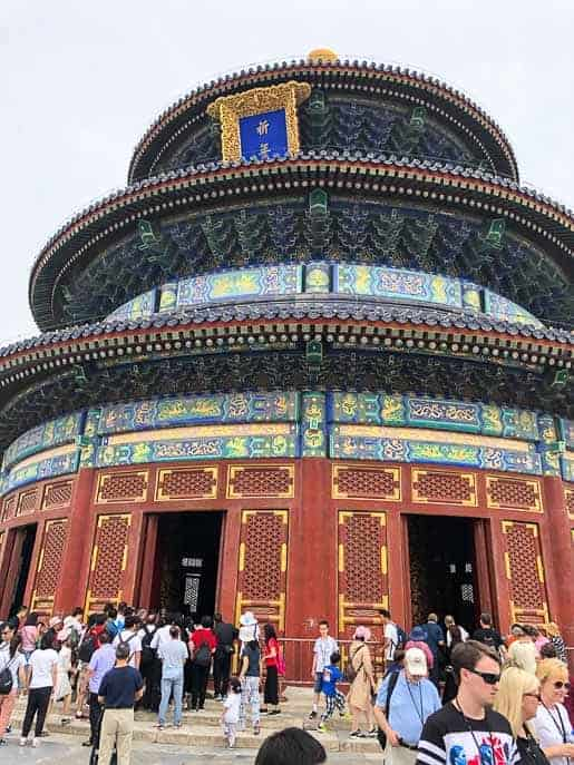 Picture of the Temple of Heaven with crowds on the stairs outside by Gourmet Done Skinny