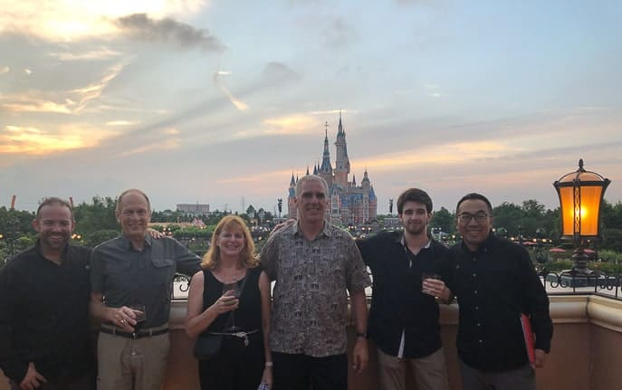 Group picture of the balcony at Club 33 Shanghai Disneyland