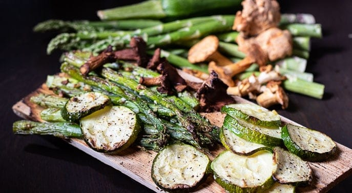 Vegetables on Cedar planks from Gourmet Done Skinny
