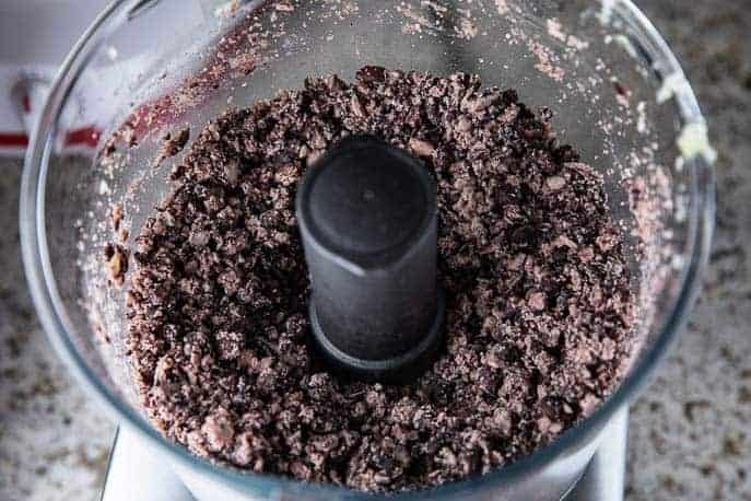 black beans partially mashed in food processor