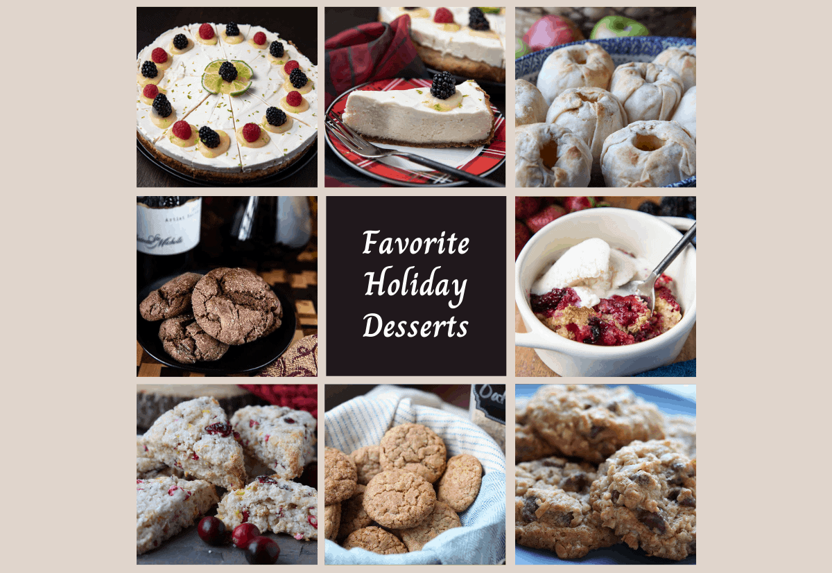 8 pictures of holiday desserts in a grid